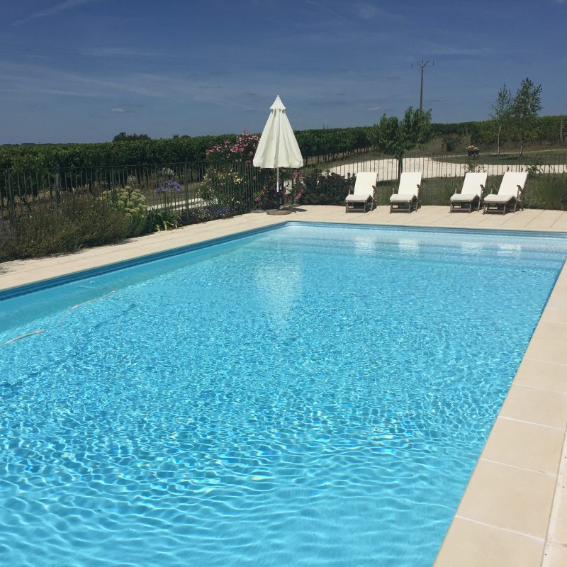 The solar heated swimming pool, on the other side of the property, surrounded by our vineyards