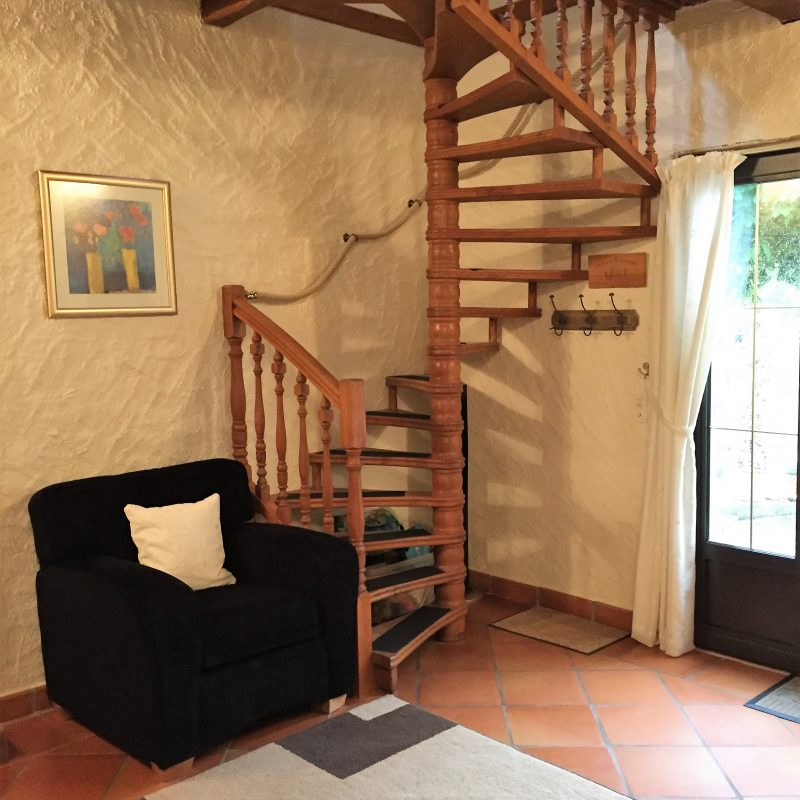 with spiral staircase up to La Tour (the double room)